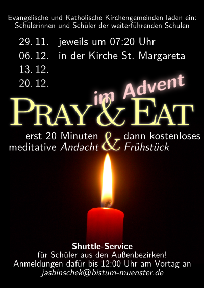 Flyer für Pray & Eat im Advent 2011