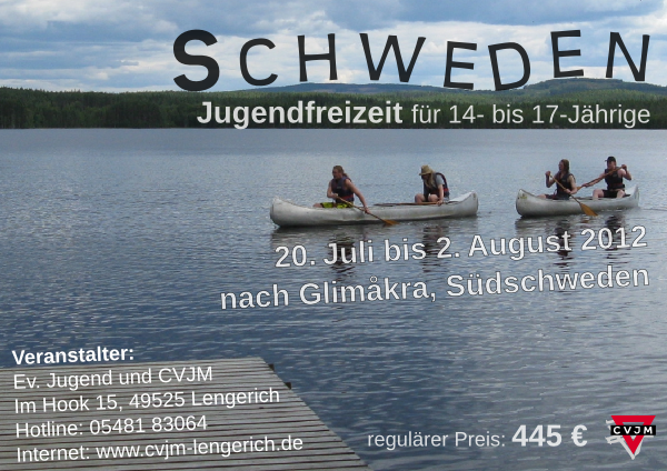 Plakat für die Jugendfreizeit2012 nach Schweden