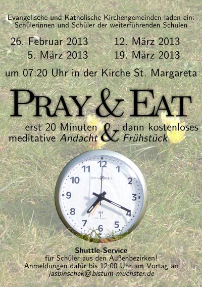 Flyer für Pray&Eat in der Passionszeit2013