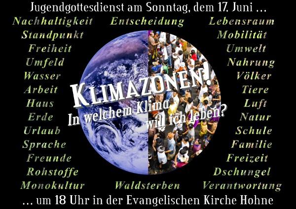 """Flyer für den Jugendgottesdienst """"Klimazonen"""" im Juni2012"""