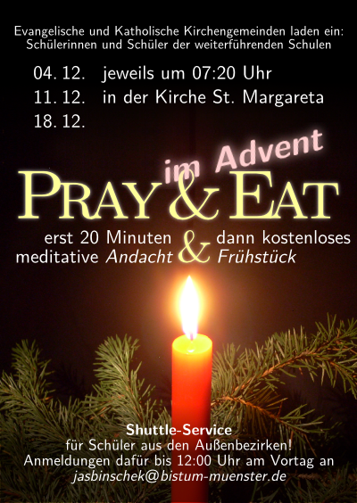 Flyer für Pray & Eat im Advent 2012