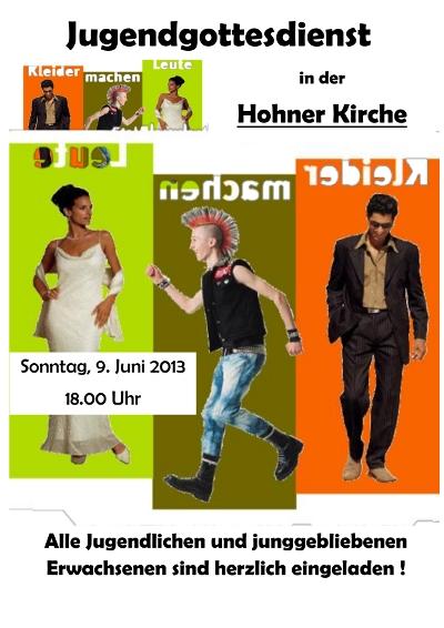 """Flyer für den Jugendgottesdienst """"Kleider machen Leute"""" im Juni2013"""