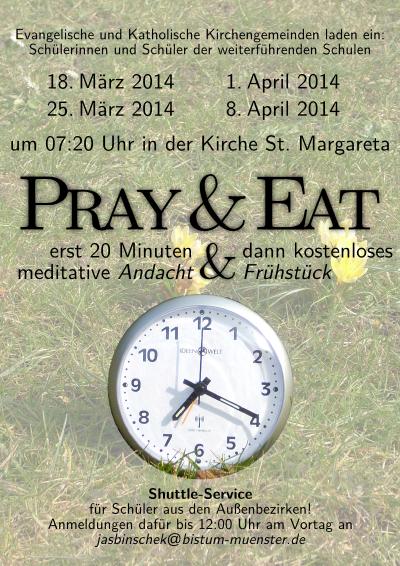 Flyer für Pray&Eat in der Passionszeit2014
