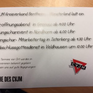 Der CVJM-Kreisverband Bentheim-Münsterland lädt ein.