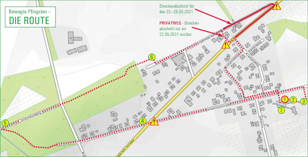 Karte der Route des Rundwegs